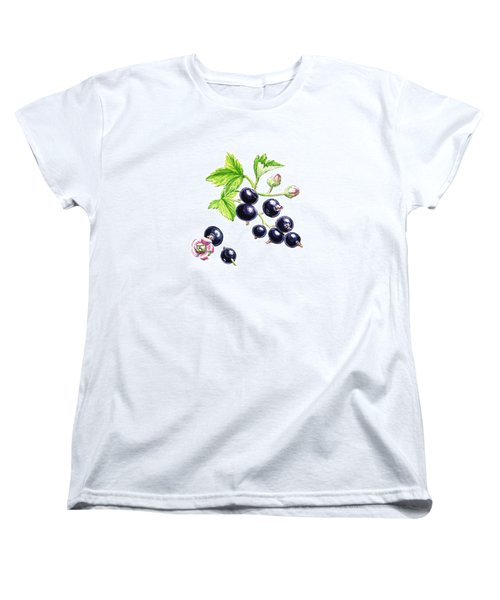 Women's T-Shirt (Standard Cut) featuring the painting Blackcurrant Botanical Study by Irina Sztukowski
