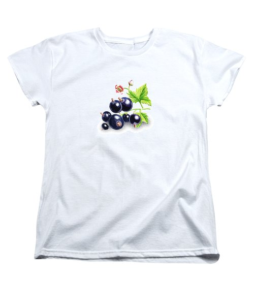 Women's T-Shirt (Standard Cut) featuring the painting Blackcurrant Still Life by Irina Sztukowski