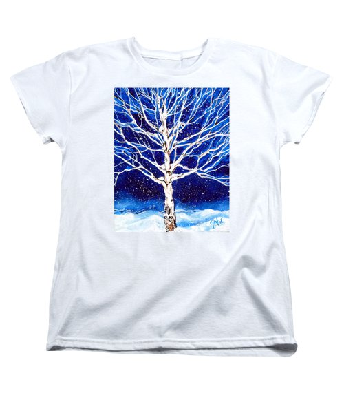 Women's T-Shirt (Standard Cut) featuring the painting Blanket Of Stillness by Jackie Carpenter