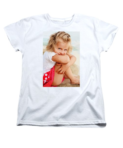 Women's T-Shirt (Standard Cut) featuring the painting Blue Eyed Girl by Tim Gilliland
