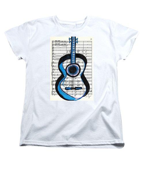 Women's T-Shirt (Standard Cut) featuring the drawing Blue Guitar Music by Ecinja Art Works