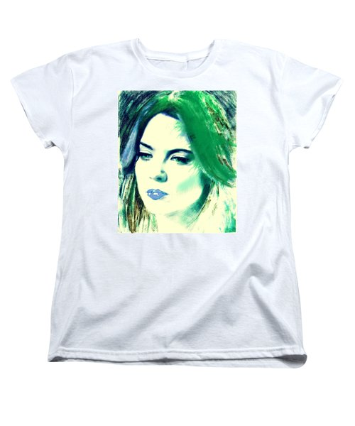 Blue Lips On Green Women's T-Shirt (Standard Cut) by Kim Prowse