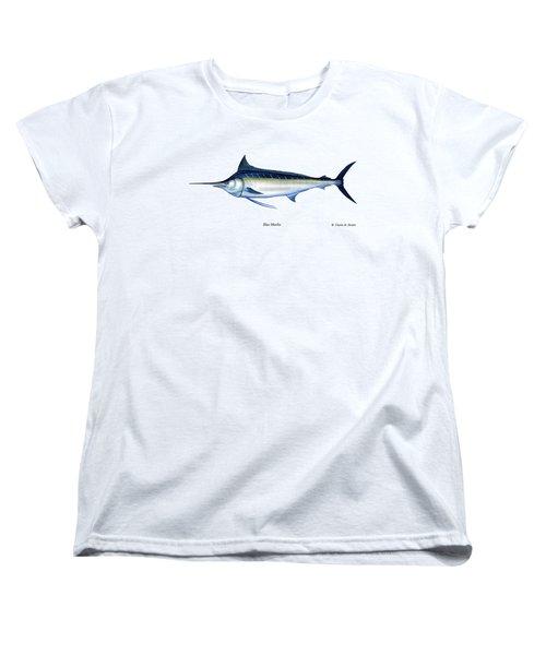 Blue Marlin Women's T-Shirt (Standard Cut) by Charles Harden