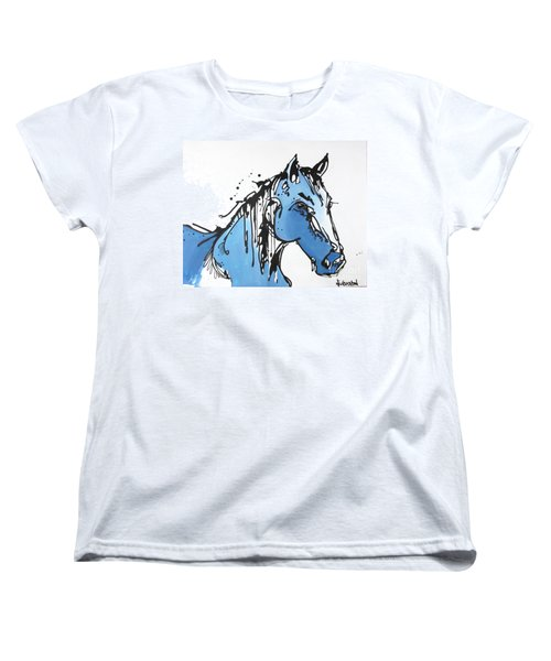 Women's T-Shirt (Standard Cut) featuring the painting Blue by Nicole Gaitan