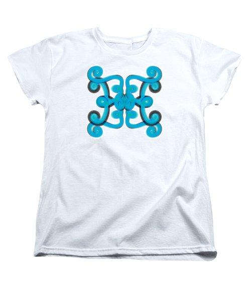 Women's T-Shirt (Standard Cut) featuring the digital art Blue Scroll Square by Christine Fournier