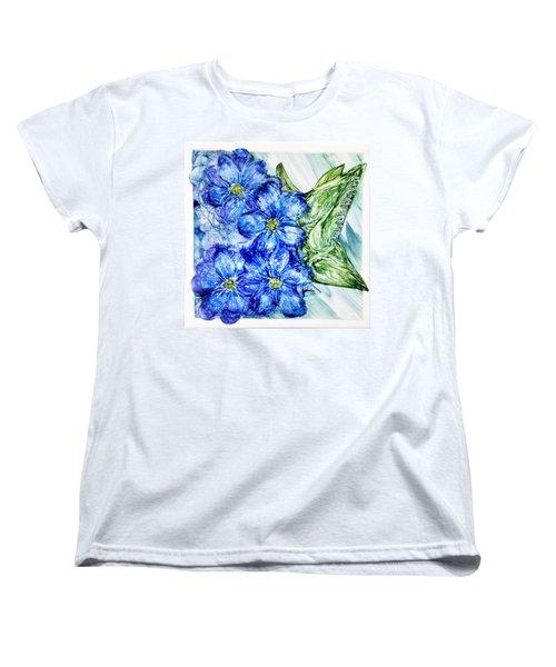 Women's T-Shirt (Standard Cut) featuring the photograph Blue Springy Flowers Alcohol Inks by Danielle  Parent