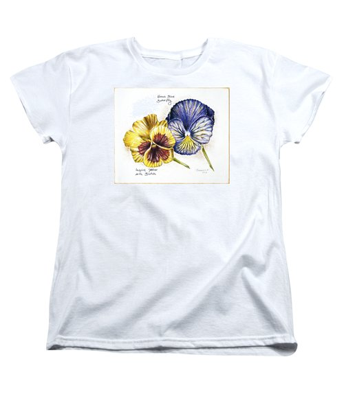 Blue Yellow Pansies Women's T-Shirt (Standard Cut) by Katharina Filus