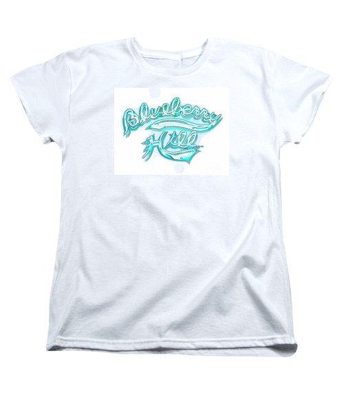 Blueberry Hill Inverted In Neon Blue Women's T-Shirt (Standard Cut)