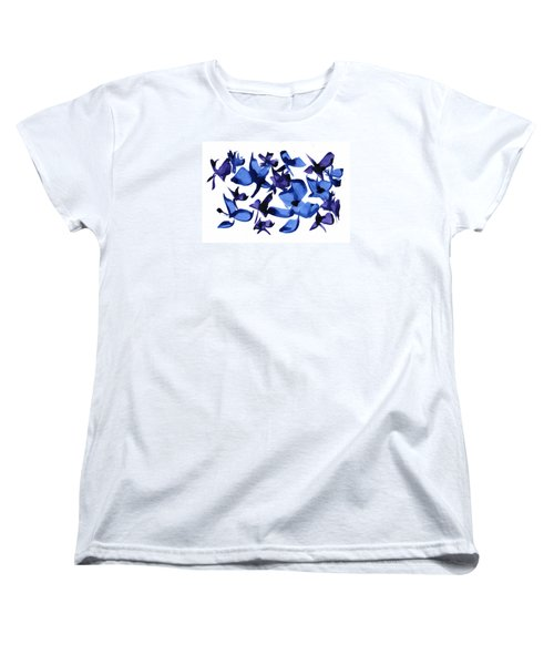 Women's T-Shirt (Standard Cut) featuring the mixed media Blues And Violets by Frank Bright