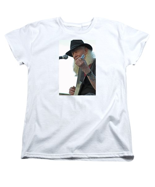 Women's T-Shirt (Standard Cut) featuring the photograph Bluesman Johnny Winter by Mike Martin