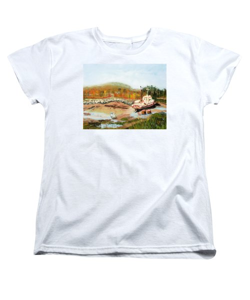 Women's T-Shirt (Standard Cut) featuring the painting Boat At Bic Quebec by Michael Daniels