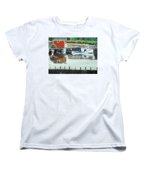 Women's T-Shirt (Standard Cut) featuring the painting Boat At Louisburg Ns by Michael Daniels