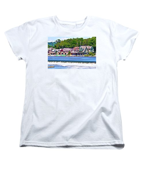 Boathouse Row - Hdr Women's T-Shirt (Standard Cut) by Lou Ford