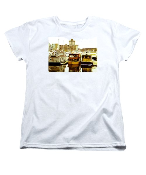 Women's T-Shirt (Standard Cut) featuring the photograph Boathouses by Eti Reid