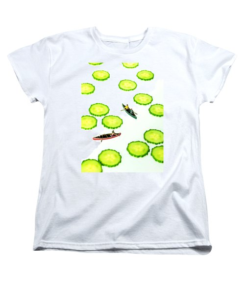 Boating Among Cucumber Slices Miniature Art Women's T-Shirt (Standard Cut) by Paul Ge