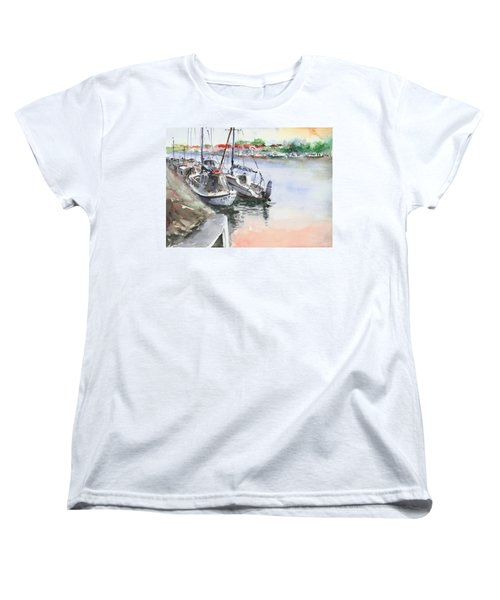 Women's T-Shirt (Standard Cut) featuring the painting Boats Inshore by Faruk Koksal