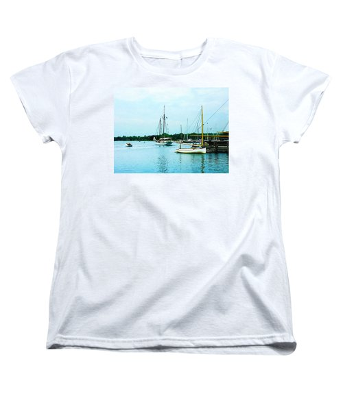 Women's T-Shirt (Standard Cut) featuring the photograph Boats On A Calm Sea by Susan Savad