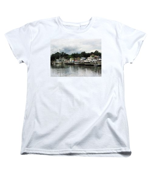Women's T-Shirt (Standard Cut) featuring the photograph Boats On A Cloudy Day Essex Ct by Susan Savad