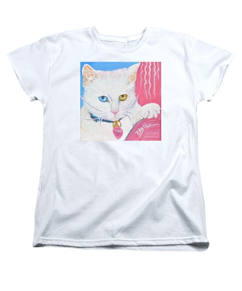 Women's T-Shirt (Standard Cut) featuring the painting Boo Kitty by Phyllis Kaltenbach