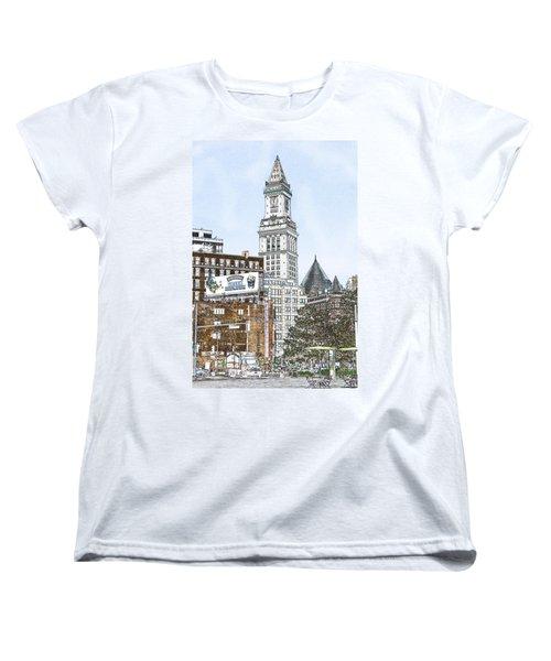 Boston Custom House Tower Women's T-Shirt (Standard Cut) by Fred Larson