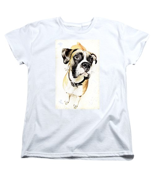 Women's T-Shirt (Standard Cut) featuring the photograph Boxer Dog Poster by Peter v Quenter