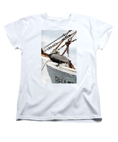 Brown Pelican Women's T-Shirt (Standard Cut) by Valerie Reeves