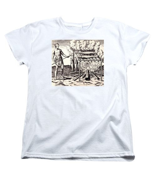 Women's T-Shirt (Standard Cut) featuring the drawing Broylinge Their Fish Over The Flame by Peter Gumaer Ogden