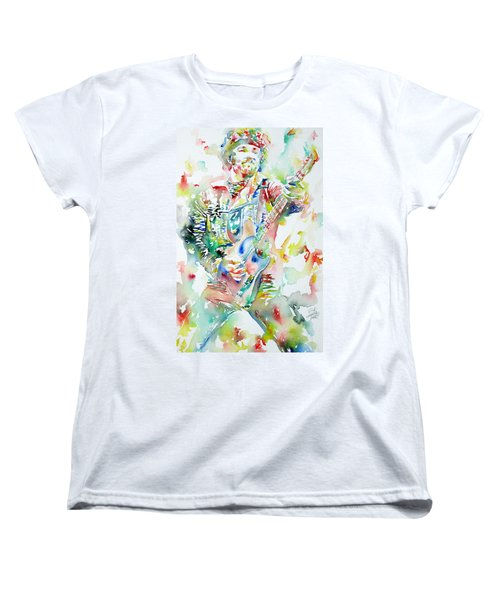 Bruce Springsteen Playing The Guitar Watercolor Portrait Women's T-Shirt (Standard Cut)