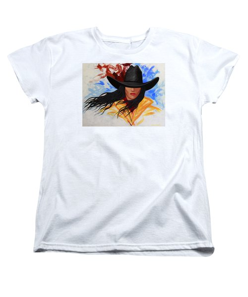 Brushstroke Cowgirl #3 Women's T-Shirt (Standard Cut) by Lance Headlee