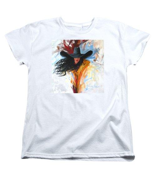 Brushstroke Cowgirl Women's T-Shirt (Standard Cut) by Lance Headlee