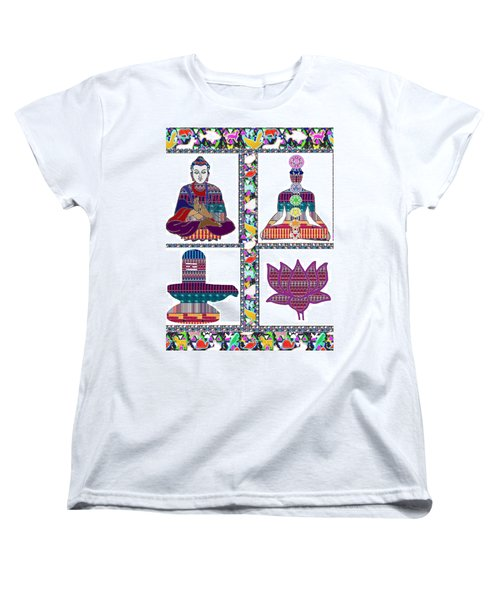 Buddha Yoga Chakra Lotus Shivalinga Meditation Navin Joshi Rights Managed Images Graphic Design Is A Women's T-Shirt (Standard Cut) by Navin Joshi