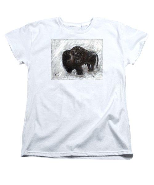Buffalo In The Snow Women's T-Shirt (Standard Cut) by Barbie Batson