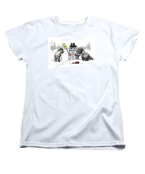Building A Snow Elephant Women's T-Shirt (Standard Cut) by Donna Tucker