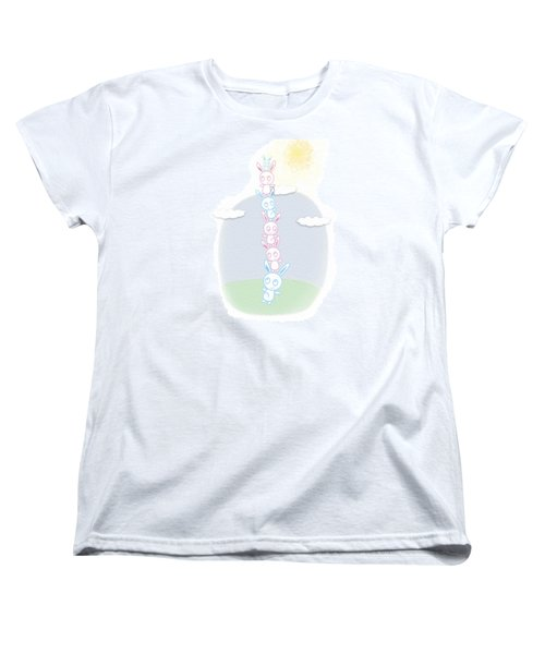 Women's T-Shirt (Standard Cut) featuring the drawing Bunny Tower Childrens Illustration by Lenny Carter
