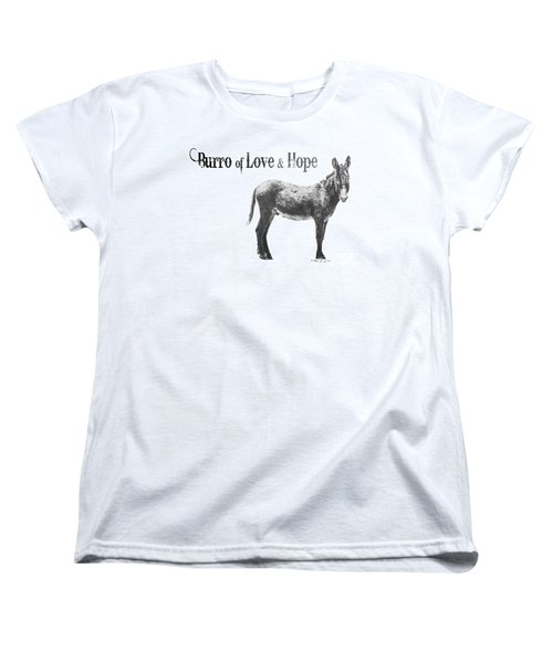 Women's T-Shirt (Standard Cut) featuring the drawing Burro Of Love And Hope by Marianne NANA Betts