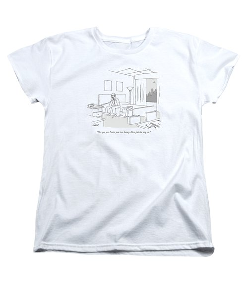 Businessman Sitting On A Bed In Hotel Room Women's T-Shirt (Standard Cut) by Jack Ziegler