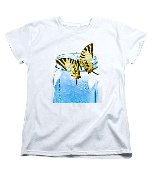 Butterfly On A Blue Jar Women's T-Shirt (Standard Cut) by Bob Orsillo