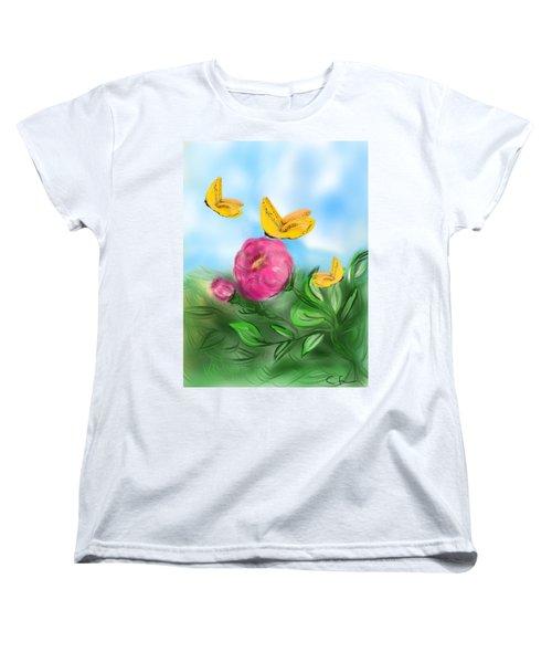 Women's T-Shirt (Standard Cut) featuring the digital art Butterfly Triplets by Christine Fournier