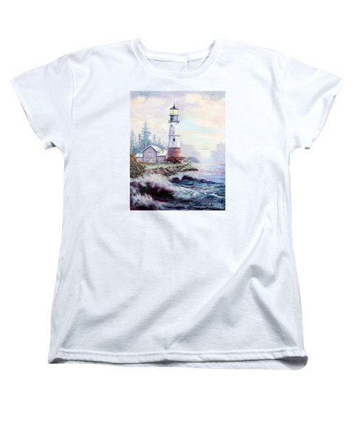 Women's T-Shirt (Standard Cut) featuring the painting California Lighthouse by Lee Piper