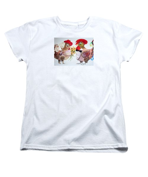 Women's T-Shirt (Standard Cut) featuring the painting Calling All Chicken Lovers Say I Do by Eloise Schneider