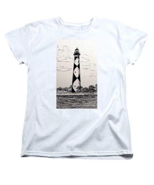 Women's T-Shirt (Standard Cut) featuring the drawing Cape Lookout Lighthouse Nc by Julie Brugh Riffey