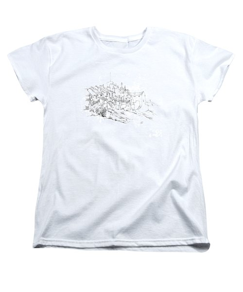 Women's T-Shirt (Standard Cut) featuring the drawing Castletown Coastal Houses by Paul Davenport