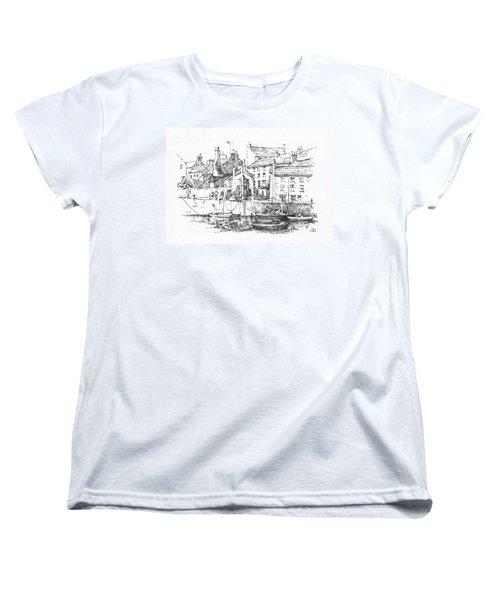 Women's T-Shirt (Standard Cut) featuring the drawing Castletown Harbour by Paul Davenport