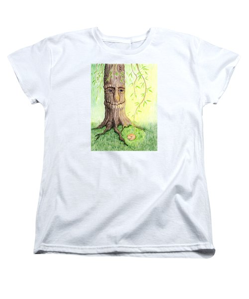 Women's T-Shirt (Standard Cut) featuring the drawing Cat And Great Mother Tree by Keiko Katsuta