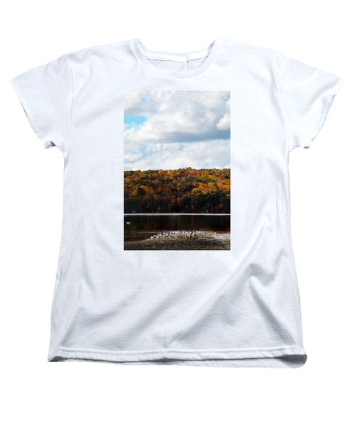 Women's T-Shirt (Standard Cut) featuring the photograph Cayuga Lake In Colorful Fall Ithaca New York  by Paul Ge