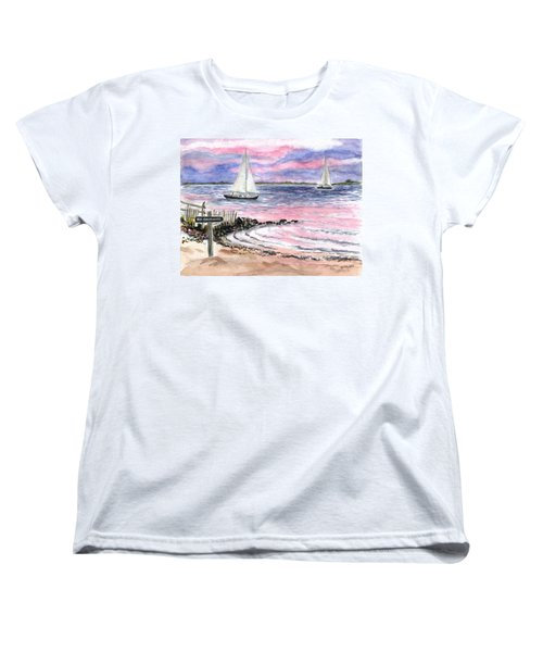 Cedar Beach Pinks Women's T-Shirt (Standard Cut) by Clara Sue Beym