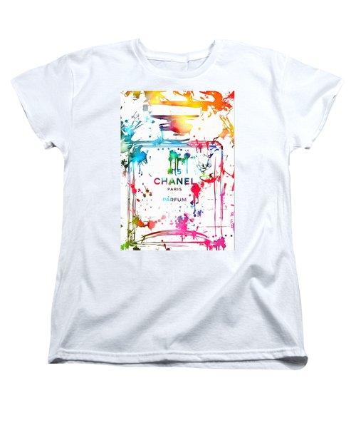 Chanel Number Five Paint Splatter Women's T-Shirt (Standard Cut) by Dan Sproul