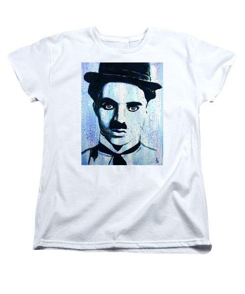 Women's T-Shirt (Standard Cut) featuring the painting Charlie Chaplin Little Tramp Portrait by Bob Baker