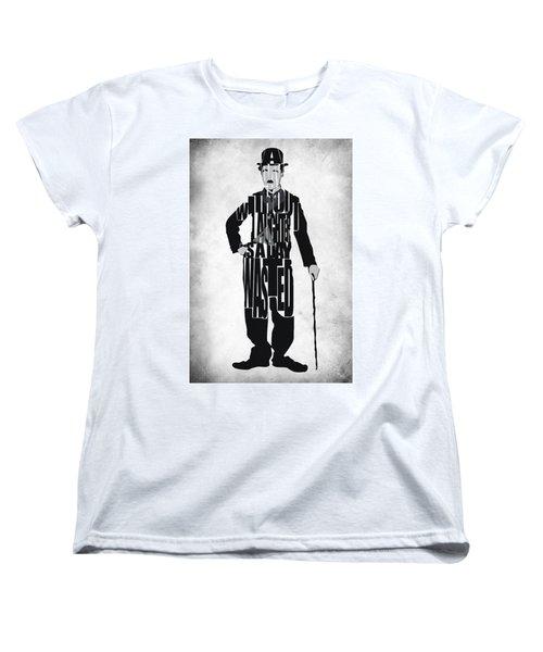 Charlie Chaplin Typography Poster Women's T-Shirt (Standard Cut) by Ayse Deniz