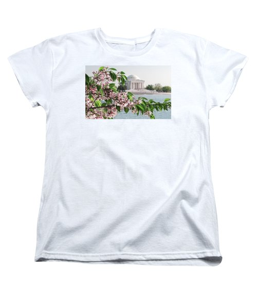 Women's T-Shirt (Standard Cut) featuring the photograph Cherry Blossoms And The Jefferson Memorial 2 by Mitchell R Grosky